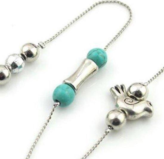Bril ketting- Turquoise- Vogeltje - Charme Bijoux