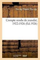 Compte rendu de mandat, 1922-1926
