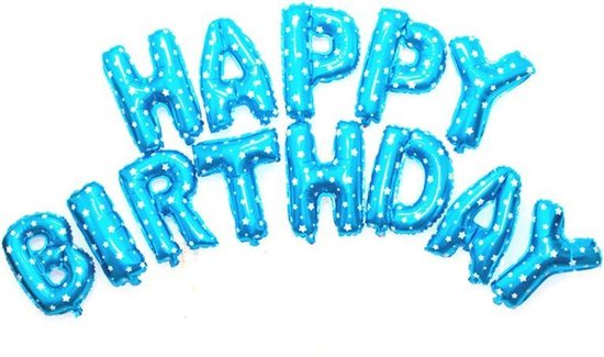 Ballonnen set Happy Birthday Blauw