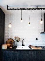 Industriële keukenlamp - Loftdeur Loftbar 170cm incl 5 edison kooldraadlampen