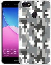 Huawei Y6 Pro 2017 Hoesje Pixel Camouflage Grey