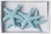 Lichtblauwe zeester decoratie 4,5 cm 4 stuks
