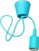 LED lamp DIY   pendel hanglamp - strijkijzer snoer   E27 siliconen fitting   turquoise