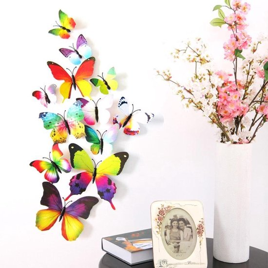 Bol Com 3d Fleurige Vlinders Muur Sticker Muurdecoratie Kinderkamer Babykamer