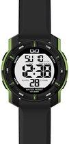 digitaal Q&Q horloge zwart/groen waterdicht M171J807