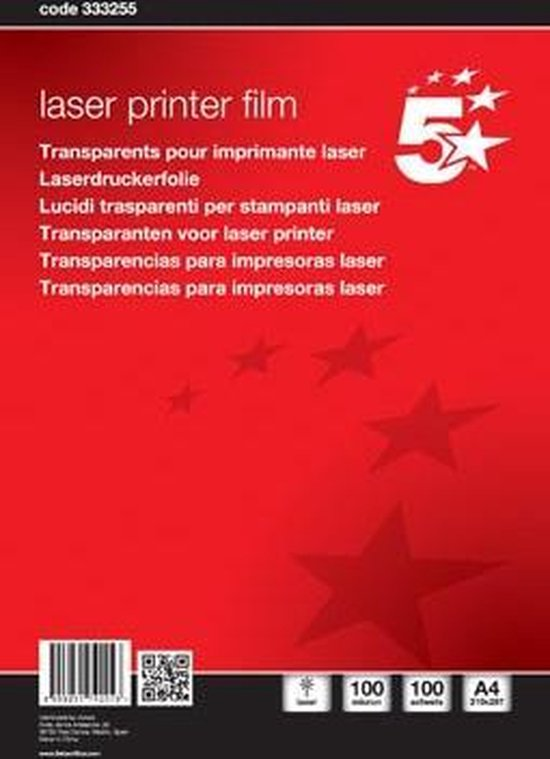 Afbeelding van 5 Star OHP A4 overheadsheets voor zwart/wit laserprinters
