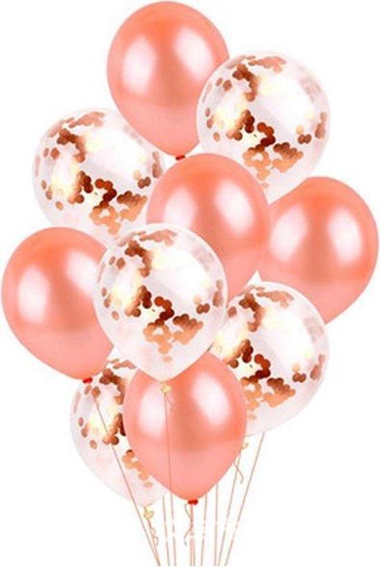 Confetti Ballonnen Rose Goud en Ballonnen Rose Goud (10 stuks) - Ideaal voor Feesten, Trouwerij en Verjaardagen