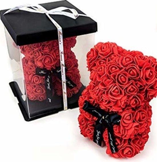 Teddy Beer - Rozen | Rozen beer | Roos | Bloemen | Moederdag | Verkering | Liefde | 25CM | Valentijnsdag | Valentijnscadeau | Inclusief Giftbox - ROOD
