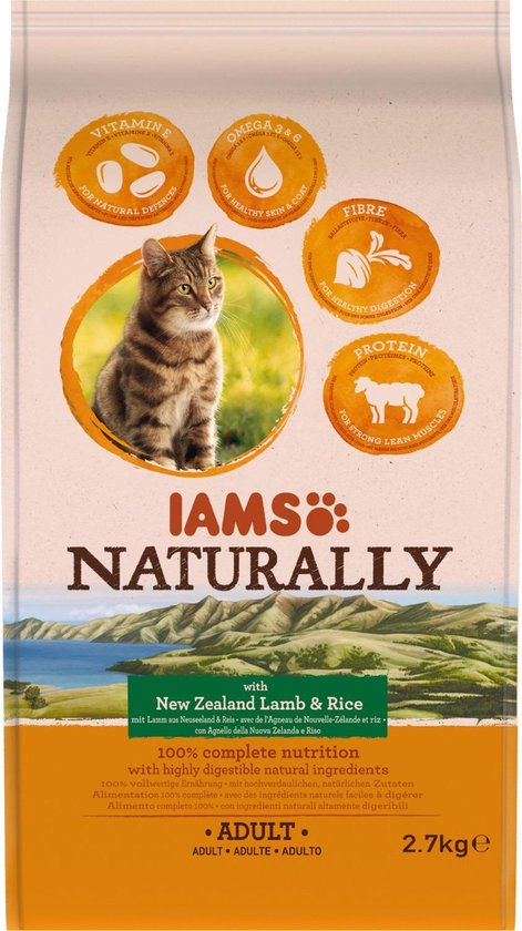 Iams Naturally Cat Adult Lam&Rijst 2.7 kg