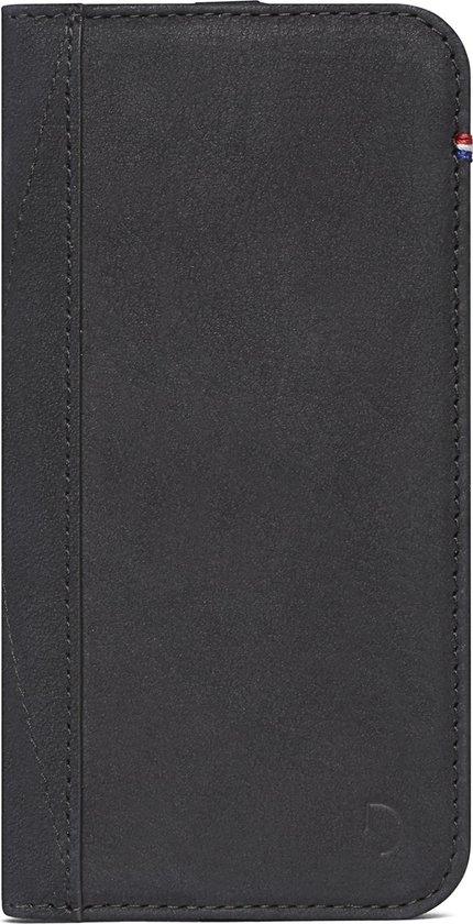 DECODED Book + Wallet Case iPhone SE / 8 / 7, Premium Full Grain Leer, Elastiek sluiting, Stand modus + Kaarthouder, - [ Zwart ]