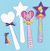 Kartonnen vormen/sjablonen prinsessen of feeën toverstaf - knutselpakket voor kinderen om in te kleuren schilderen en versieren (8 stuks)