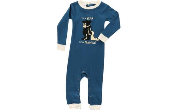 Babypyjama LazyOne Bear in the Mornings blauw - 68