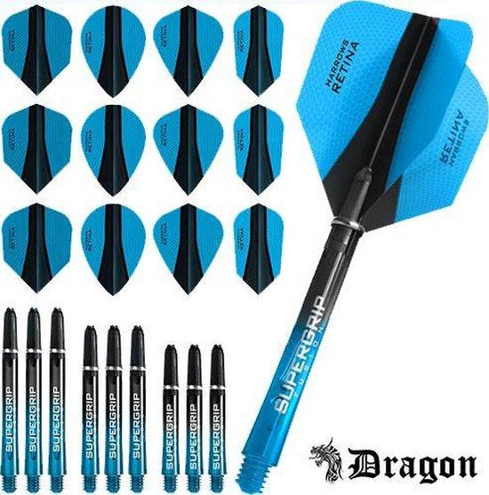 Dragon Darts – Harrows - Combi kit – Retina-X – 3 sets darts shafts – 4 sets darts flights - Aqua