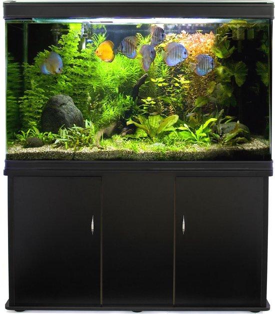 MonsterShop Aquariums - Aquarium - inclusief Filter Pomp Verwarming Verlichting Decoratie Planten - Zwart