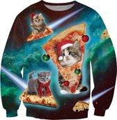 Kat, pizza en kerst kersttrui Maat: L