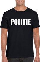 Politie tekst t-shirt zwart heren 2XL
