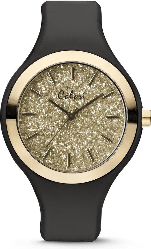 Colori Macaron Sparkle 5 COL513 Horloge – Siliconen Band – Ø 44 mm – Zwart / Goudkleurig