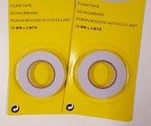 Dubbelzijdig Foam Tape - Foamtape - Foam-Tape - 12mm x 2m - 2 Stuks