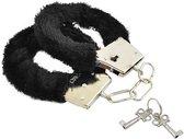 Metalen handboeien met zwart imitatie bont (incl. 2 sleutels)
