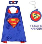 Superman cape + masker Superhelden cape kostuum verkleed pak verkleedkleding + GRATIS tas/ sleutel hanger
