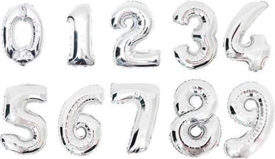 XL Folie Ballon (0) - Helium Ballonnen – Folie ballonen - Verjaardag - Speciale Gelegenheid  -  Feestje – Leeftijd Balonnen – Babyshower – Kinderfeestje - Cijfers - Zilver