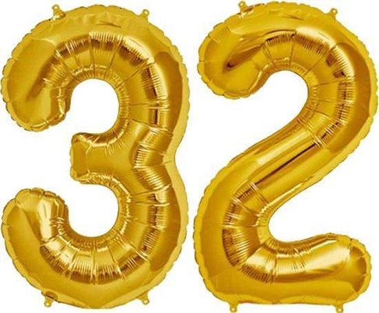 Cijfer 32 Goud Helium 86 cm excl. helium