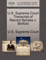 U.S. Supreme Court Transcript of Record Sproles V. Binford