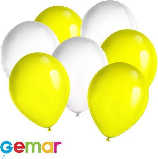 30x Ballonnen Geel en Wit (Ook geschikt voor Helium)