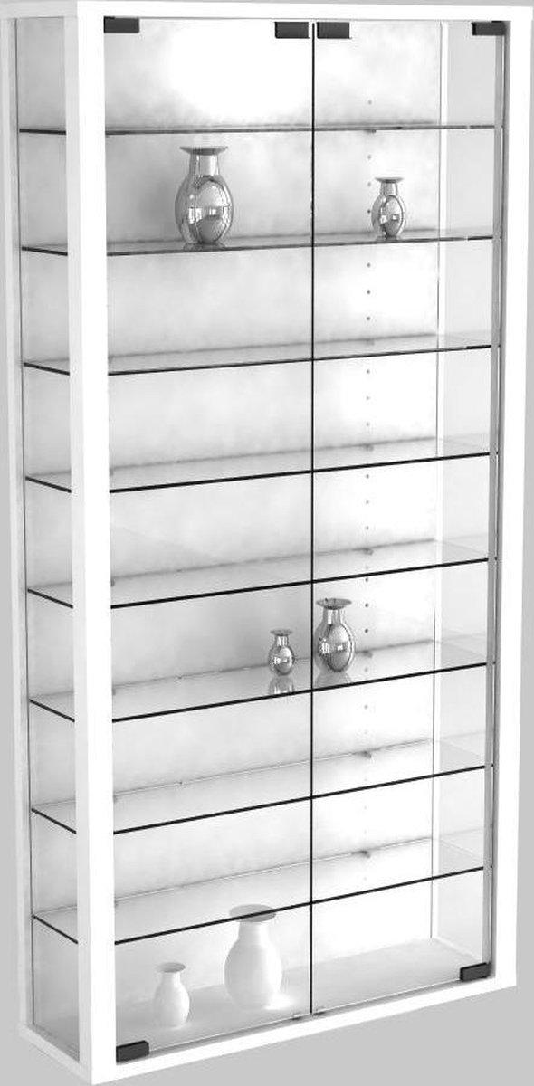 Vitrinekast wandvitrine Vitrosa Maxi met LED verlichting (wit) - Vcm