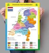 Poster kaart Nederland met provincies en hoofdsteden - 50x70cm