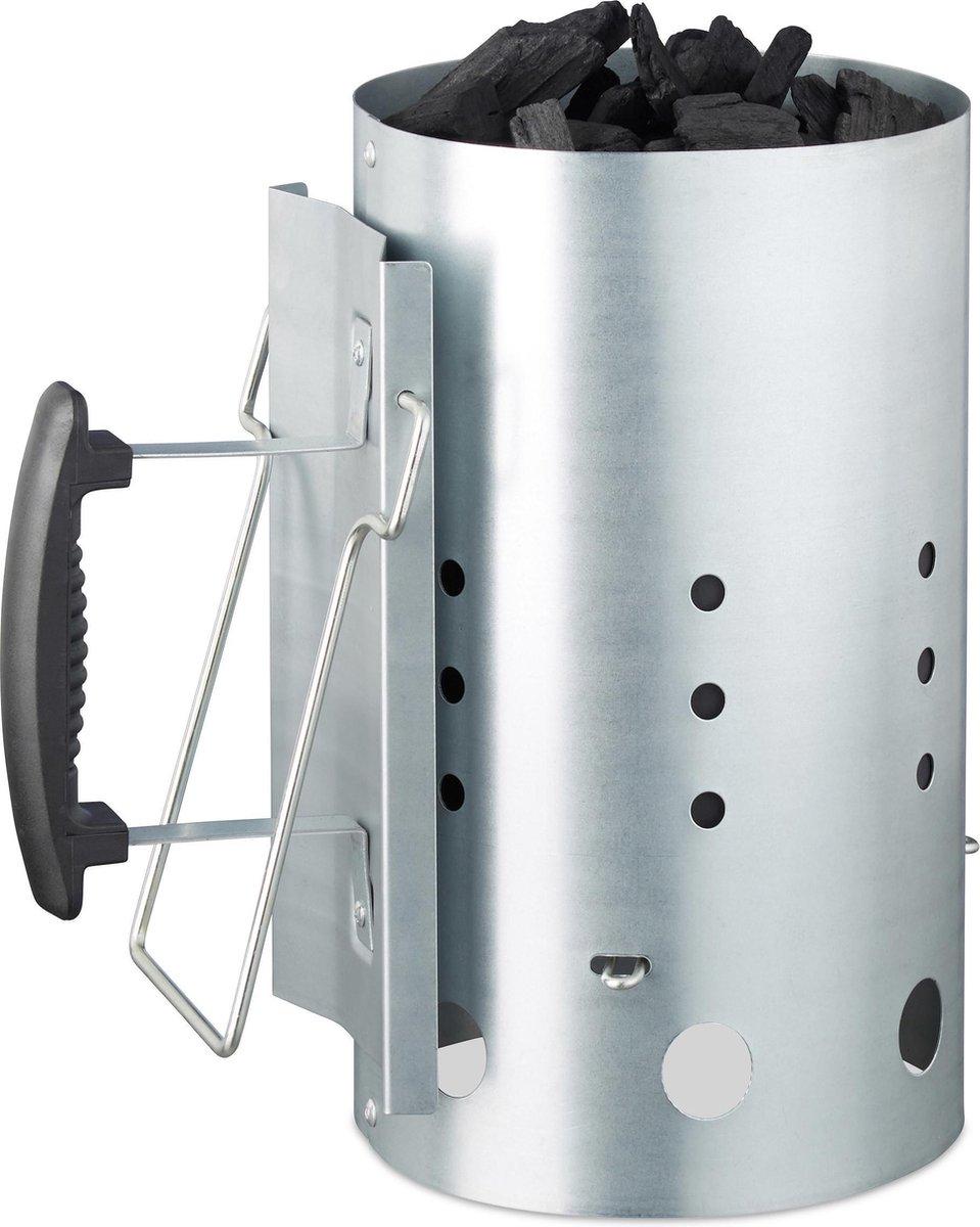 relaxdays brikettenstarter XL - bbq starter met veiligheidshandgreep - houtskool starter