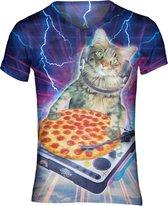 Pizza DJ Kat t-shirt Maat: L  V-hals