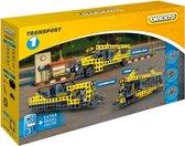 Twickto bouwset - speelvoertuig - vervoer - tram, schoolbus en trein - 255 delig - geel en grijs