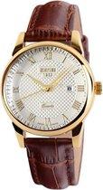 Dameshorloge - Golden Case Watch - Leren Band - Geschenkdoosje