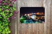 Downtown van Baton Rouge in de Verenigde Staten tijdens de nacht Tuinposter 90x60 cm - Tuindoek / Buitencanvas / Schilderijen voor buiten (tuin decoratie)