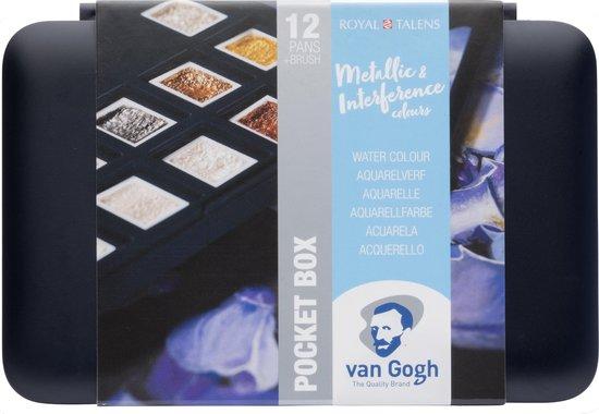 Van Gogh aquarel 12 napjes met penseel - metallic en granulerende kleuren