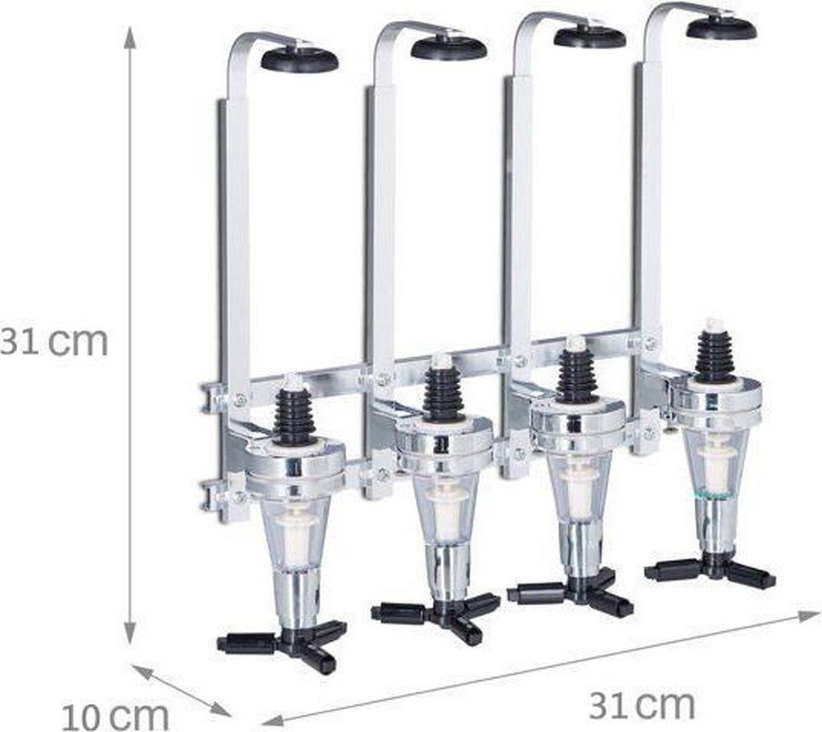 Muurdispenser / drankdispenser -  bar butler voor 4 flessen -  aluminium - GS Quality Products