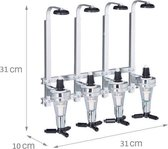 Muurdispenser / drankdispenser -  bar butler voor 4 flessen -  aluminium