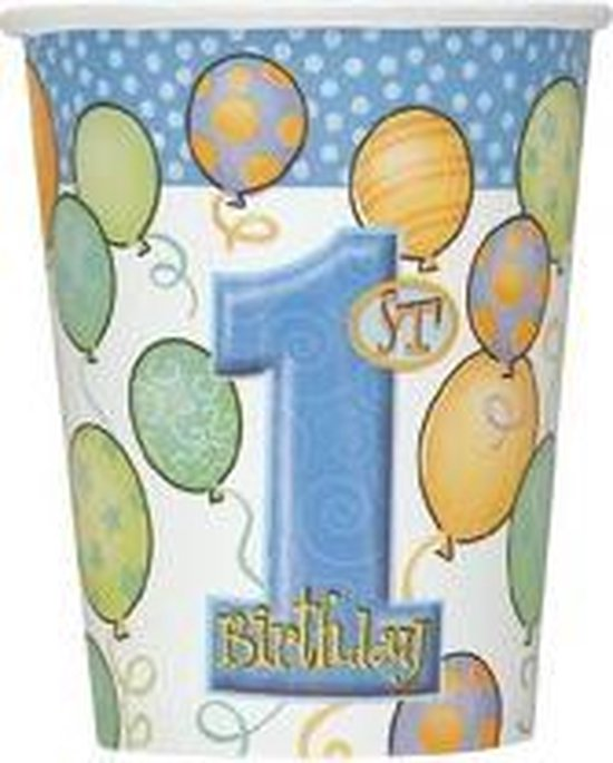 Bekers 1e verjaardag blauwe ballonnen