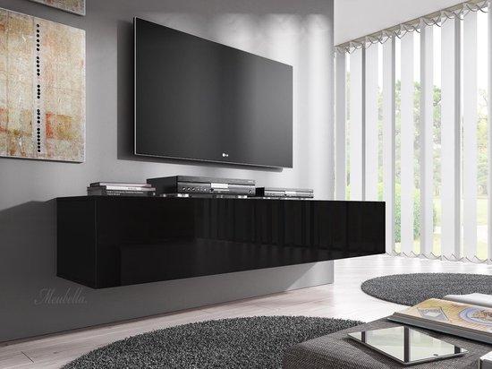 Meubella - TV-Meubel Flame - Zwart - 160 cm