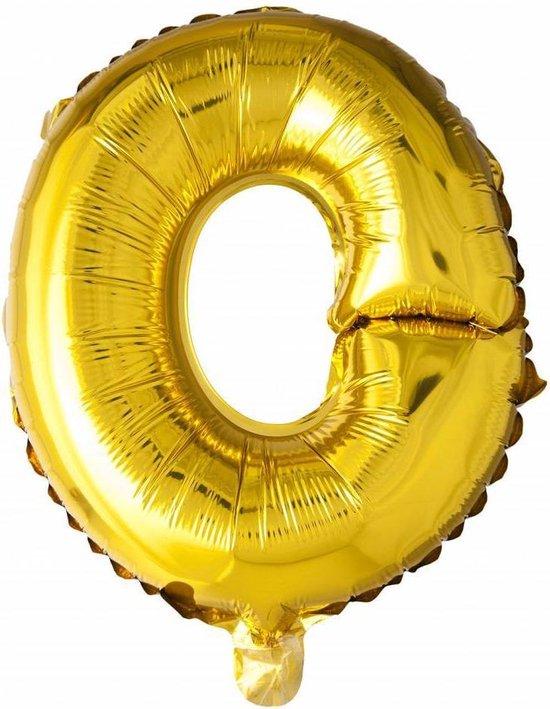 Folie Ballon Letter O Goud 41cm met rietje