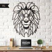 Metalen Leeuwenhoofd XL - Groot Formaat 65x82 cm| Zwart | Metal Lion Head - Hoagard Wanddecoratie, Muurdecoratie | Geometrisch Ontwerp |Beste cadeau-idee voor dierenliefhebbers | Modern interieuridee | Country & Rustic Style