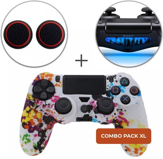 Graffiti Siliconen Beschermhoes + Thumb Grips + Lightbar Skin voor PS4 Dualshock PlayStation 4 Controller - Softcover Hoes / Case