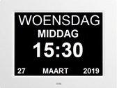 Leagwhar Kalenderklok Digitale Dementie klok wit - Kalender met datum, tijd en alarm dementieklok