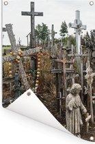 Katholieke kruizen op Kruisheuvel noord Litouwen Tuinposter 40x60 cm - klein - Tuindoek / Buitencanvas / Schilderijen voor buiten (tuin decoratie)