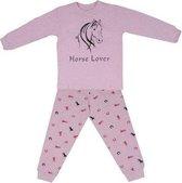 Horse lover paarden pyjama roze Maat 140