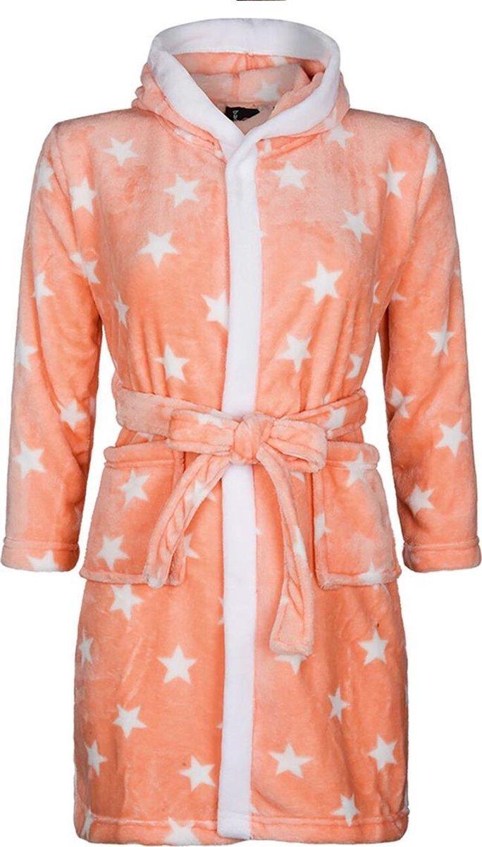 Kinderbadjas - sterren motief - capuchon badjas - 100% fleece - maat XL (11-13 jaar) - Badrock