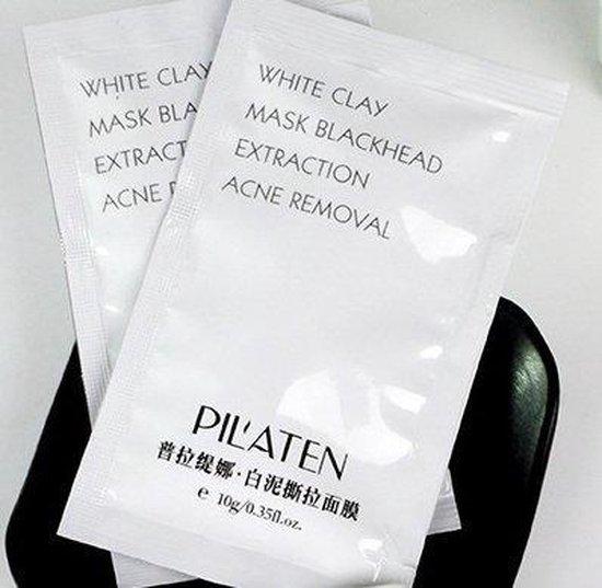 10 sachets Pilaten White Clay Peel-Off Mask - Gezichts reinigend klei masker tegen acne, mee-eters & puistjes