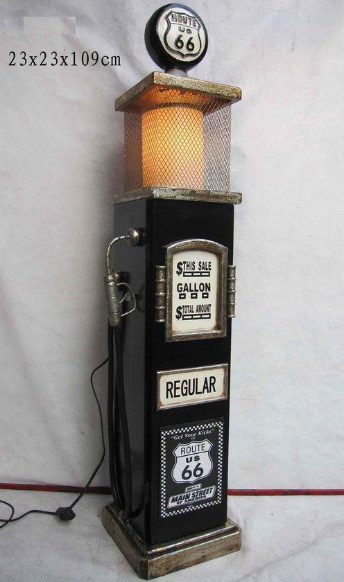 Wandkast opbergkast Amerikaanse benzinepomp zwart Route 66 met verlichting - VDD