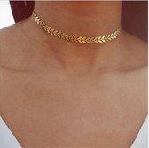 Gold Leaf Choker - Ketting - Collier - Goud - 37 cm - 1 stuks